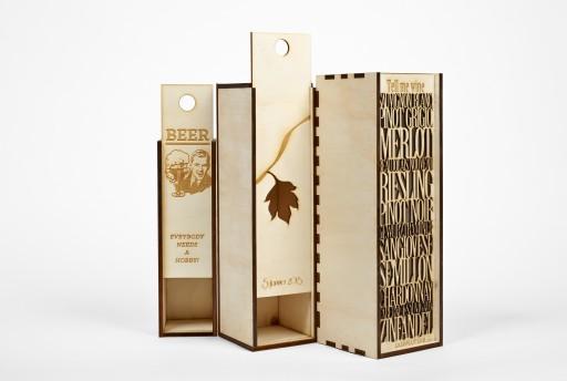 Boite a vin en bois avec gravures et/ou découpes