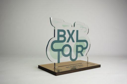 bike biking bruxelles brussels bxltour bmeo velo cyclo master trophée award prize prix trophy plexiglas lasercut inkutlab inkut